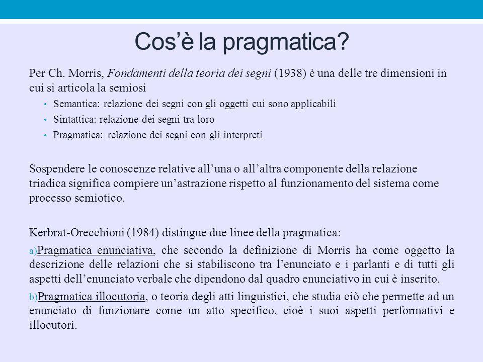 Cos'è la pragmatica? Per Ch. Morris, Fondamenti della teoria dei segni (1938) è una delle tre dimensioni in cui si articola la semiosi Semantica: rela