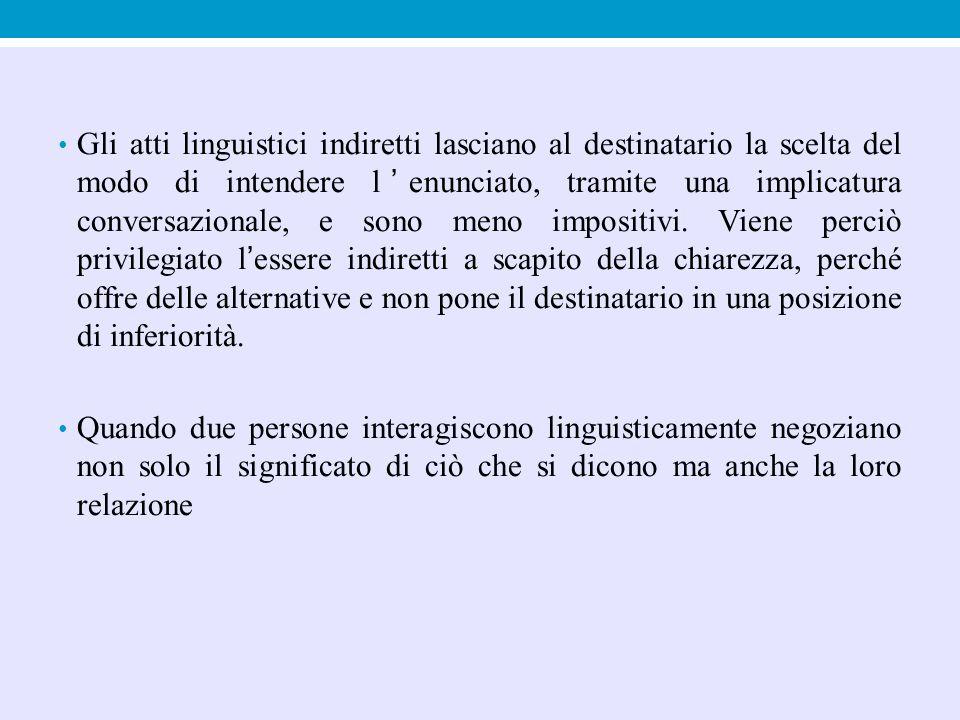 Gli atti linguistici indiretti lasciano al destinatario la scelta del modo di intendere l'enunciato, tramite una implicatura conversazionale, e sono m