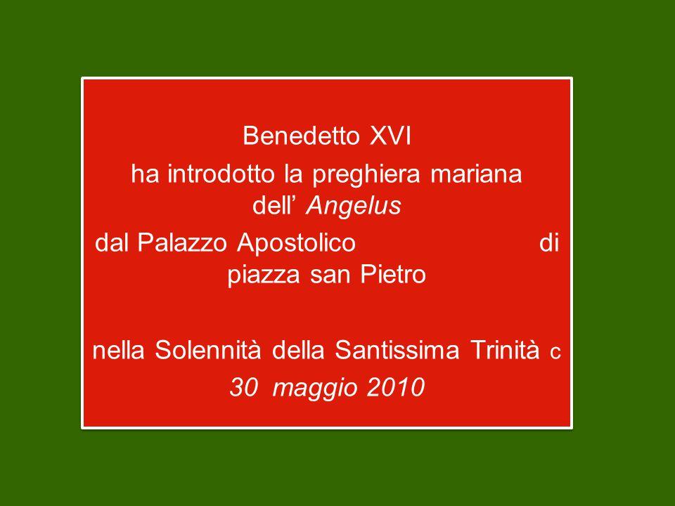 Benedetto XVI ha introdotto la preghiera mariana dell' Angelus dal Palazzo Apostolico di piazza san Pietro nella Solennità della Santissima Trinità c 30 maggio 2010 Benedetto XVI ha introdotto la preghiera mariana dell' Angelus dal Palazzo Apostolico di piazza san Pietro nella Solennità della Santissima Trinità c 30 maggio 2010