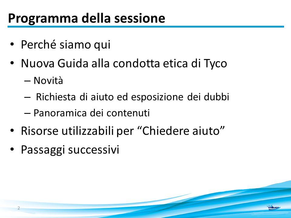 Programma della sessione Perché siamo qui Nuova Guida alla condotta etica di Tyco – Novità – Richiesta di aiuto ed esposizione dei dubbi – Panoramica