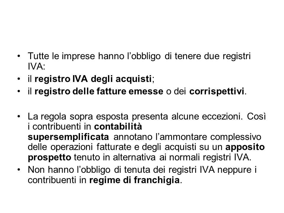 Tutte le imprese hanno l'obbligo di tenere due registri IVA: il registro IVA degli acquisti; il registro delle fatture emesse o dei corrispettivi. La