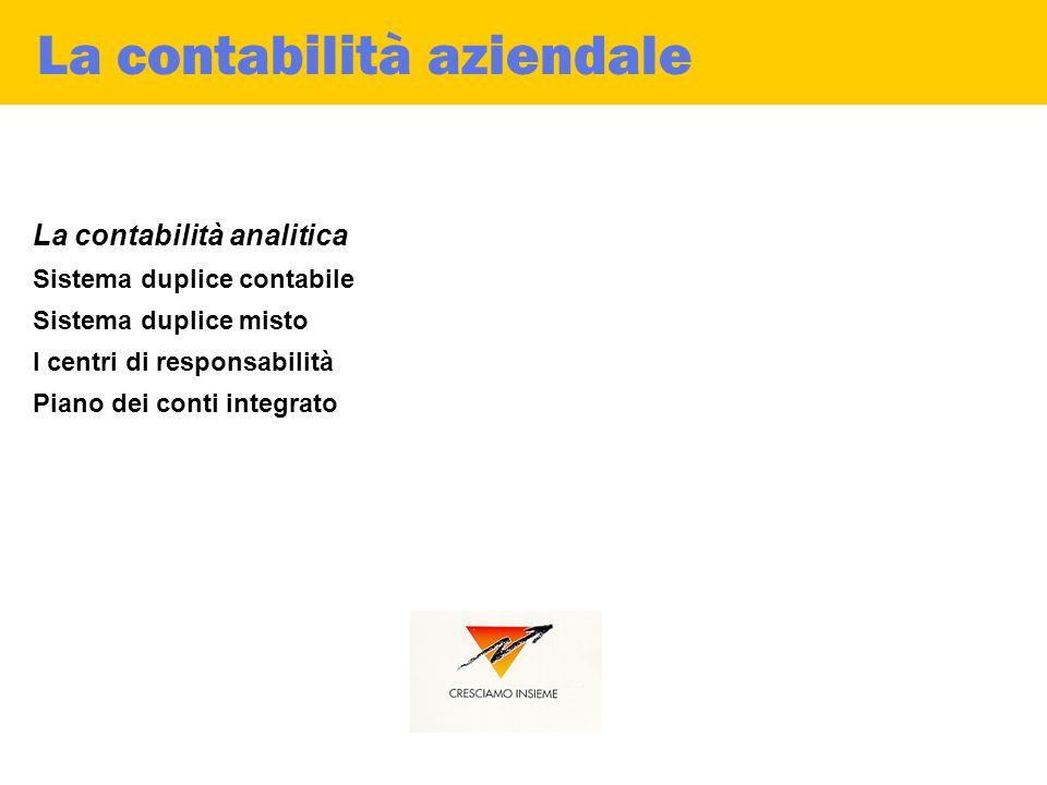 La contabilità aziendale La contabilità analitica Sistema duplice contabile Sistema duplice misto I centri di responsabilità Piano dei conti integrato