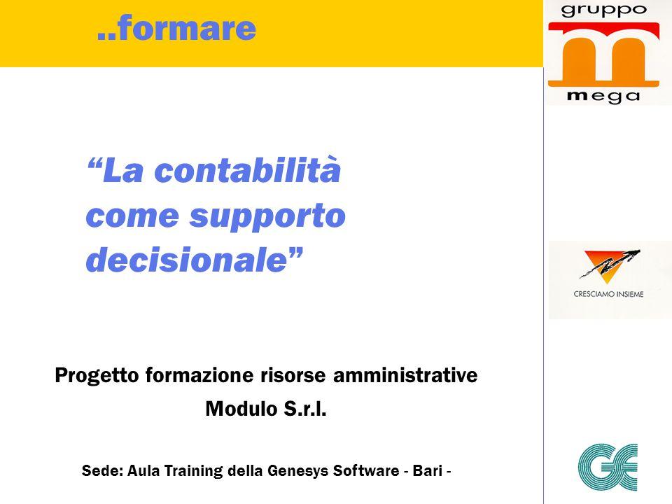 """""""La contabilità come supporto decisionale"""" Progetto formazione risorse amministrative Modulo S.r.l. Sede: Aula Training della Genesys Software - Bari"""