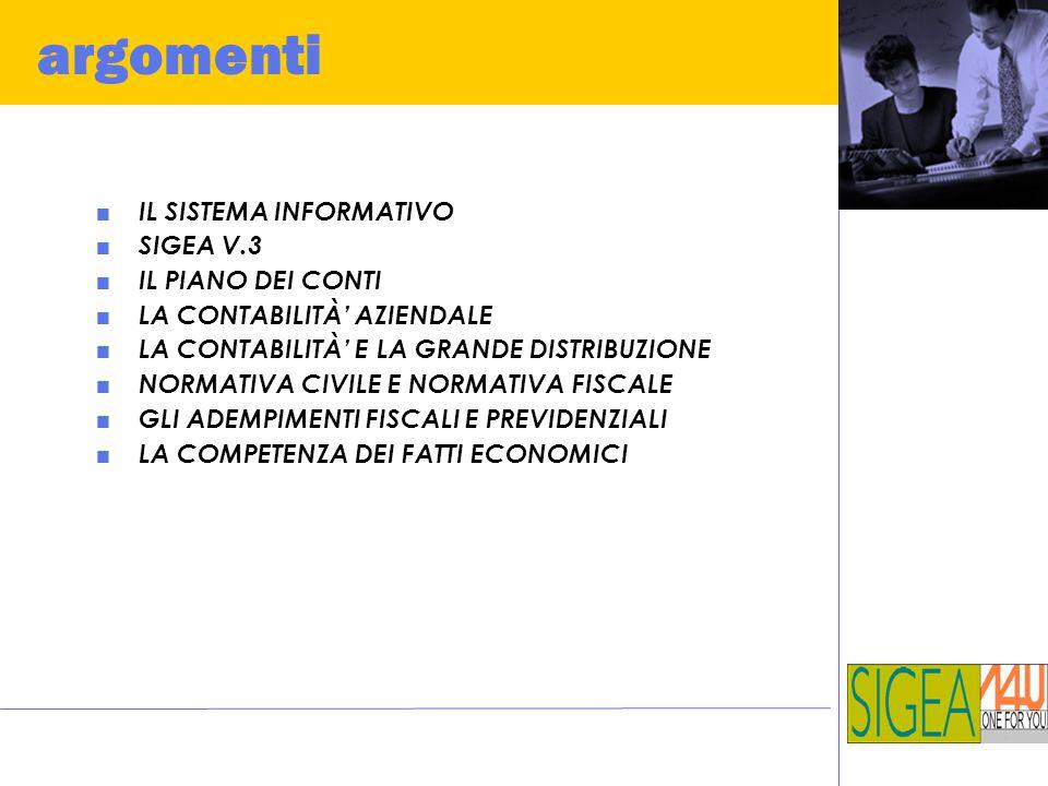 argomenti  IL SISTEMA INFORMATIVO  SIGEA V.3  IL PIANO DEI CONTI  LA CONTABILITÀ' AZIENDALE  LA CONTABILITÀ' E LA GRANDE DISTRIBUZIONE  NORMATIV