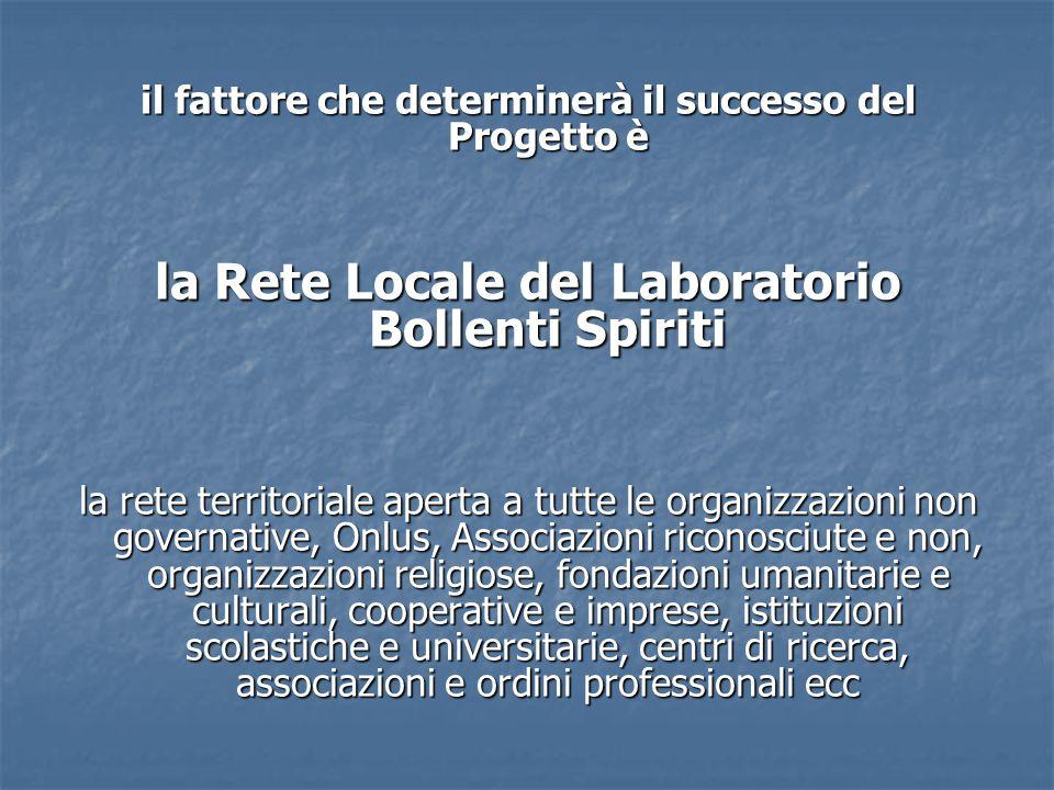 il fattore che determinerà il successo del Progetto è la Rete Locale del Laboratorio Bollenti Spiriti la rete territoriale aperta a tutte le organizza