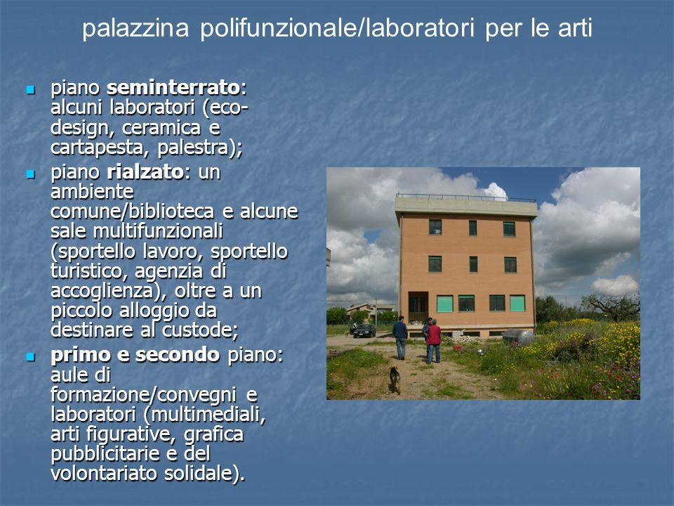 piano seminterrato: alcuni laboratori (eco- design, ceramica e cartapesta, palestra); piano seminterrato: alcuni laboratori (eco- design, ceramica e c