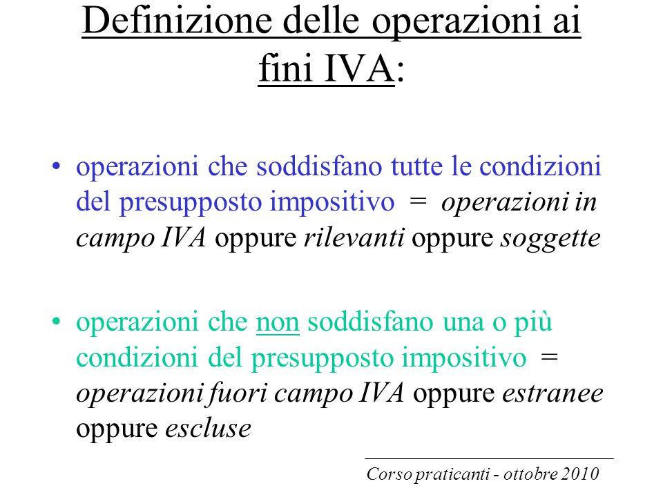 Definizione delle operazioni ai fini IVA: operazioni che soddisfano tutte le condizioni del presupposto impositivo = operazioni in campo IVA oppure ri