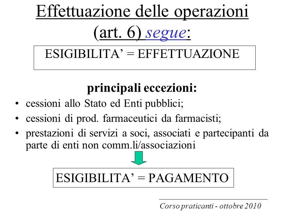 Effettuazione delle operazioni (art. 6) segue: ESIGIBILITA' = EFFETTUAZIONE principali eccezioni: cessioni allo Stato ed Enti pubblici; cessioni di pr