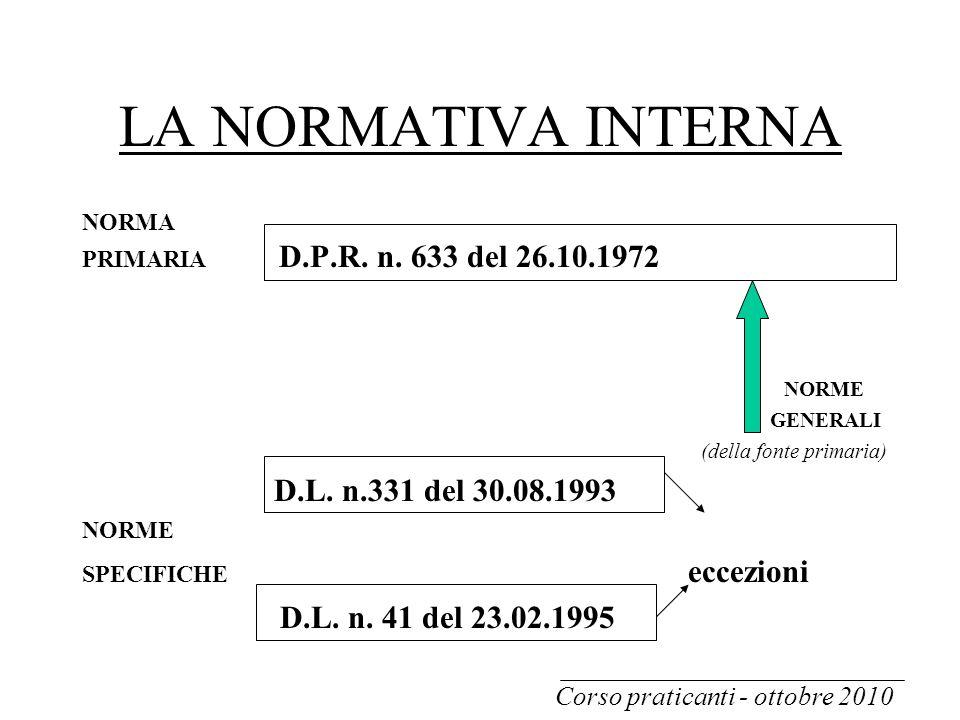 LA NORMATIVA INTERNA NORMA PRIMARIA D.P.R. n. 633 del 26.10.1972 NORME GENERALI (della fonte primaria) D.L. n.331 del 30.08.1993 NORME SPECIFICHE ecce
