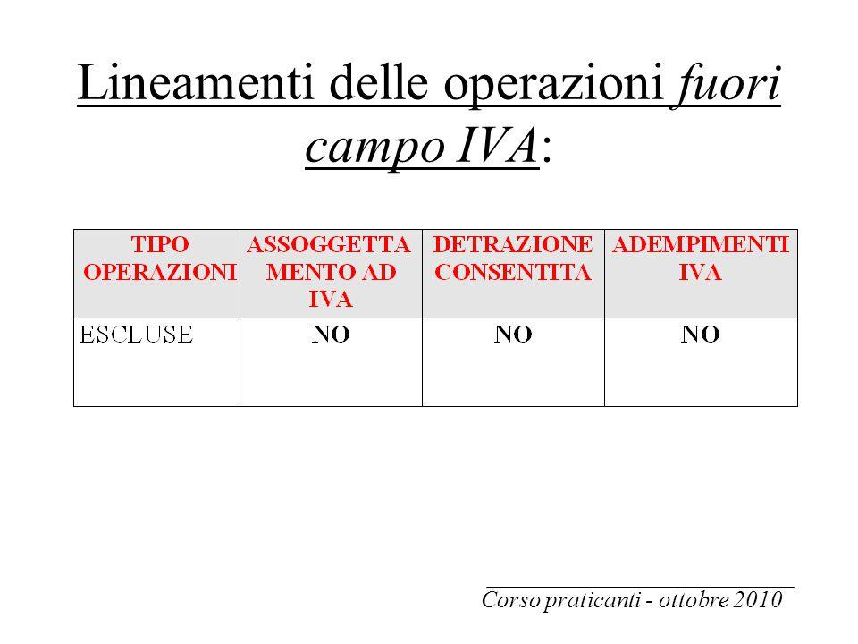 Lineamenti delle operazioni fuori campo IVA: Corso praticanti - ottobre 2010