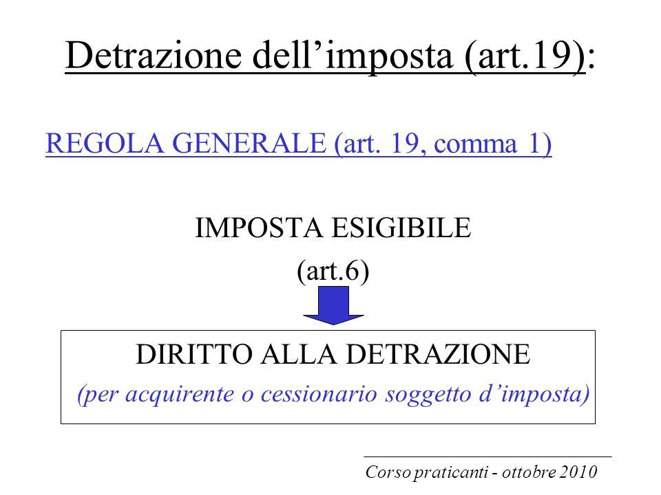 Detrazione dell'imposta (art.19): REGOLA GENERALE (art. 19, comma 1) IMPOSTA ESIGIBILE (art.6) DIRITTO ALLA DETRAZIONE (per acquirente o cessionario s