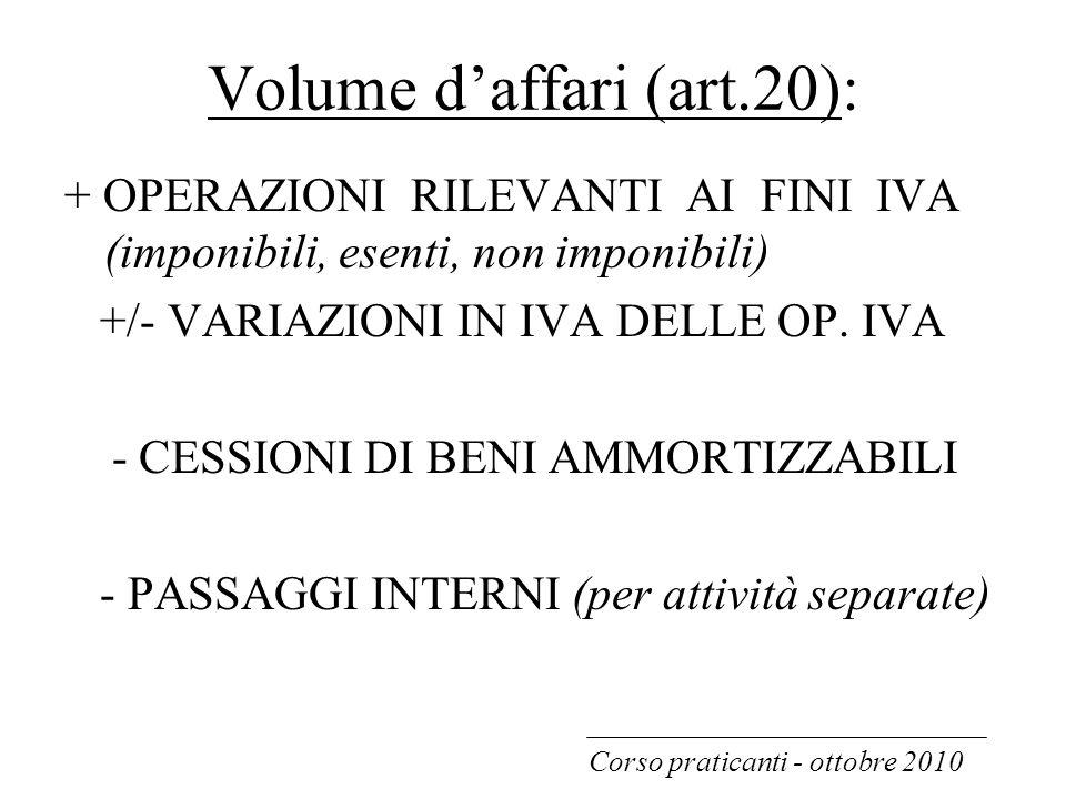 Volume d'affari (art.20): + OPERAZIONI RILEVANTI AI FINI IVA (imponibili, esenti, non imponibili) +/- VARIAZIONI IN IVA DELLE OP. IVA - CESSIONI DI BE