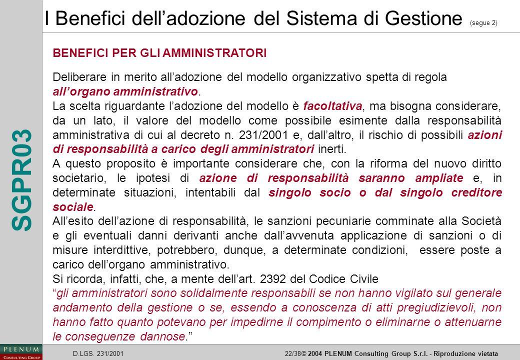 D.LGS. 231/200122/38© 2004 PLENUM Consulting Group S.r.l. - Riproduzione vietata SGPR03 I Benefici dell'adozione del Sistema di Gestione (segue 2) BEN