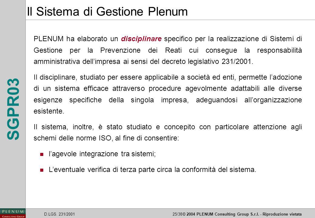 D.LGS. 231/200125/38© 2004 PLENUM Consulting Group S.r.l. - Riproduzione vietata SGPR03 PLENUM ha elaborato un disciplinare specifico per la realizzaz