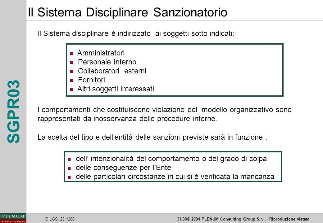 D.LGS. 231/200131/38© 2004 PLENUM Consulting Group S.r.l. - Riproduzione vietata SGPR03 Il Sistema disciplinare è indirizzato ai soggetti sotto indica