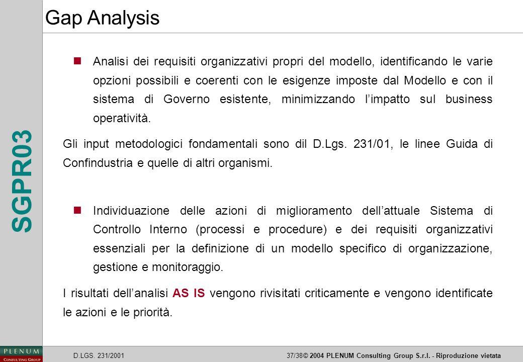 D.LGS. 231/200137/38© 2004 PLENUM Consulting Group S.r.l. - Riproduzione vietata SGPR03 nAnalisi dei requisiti organizzativi propri del modello, ident