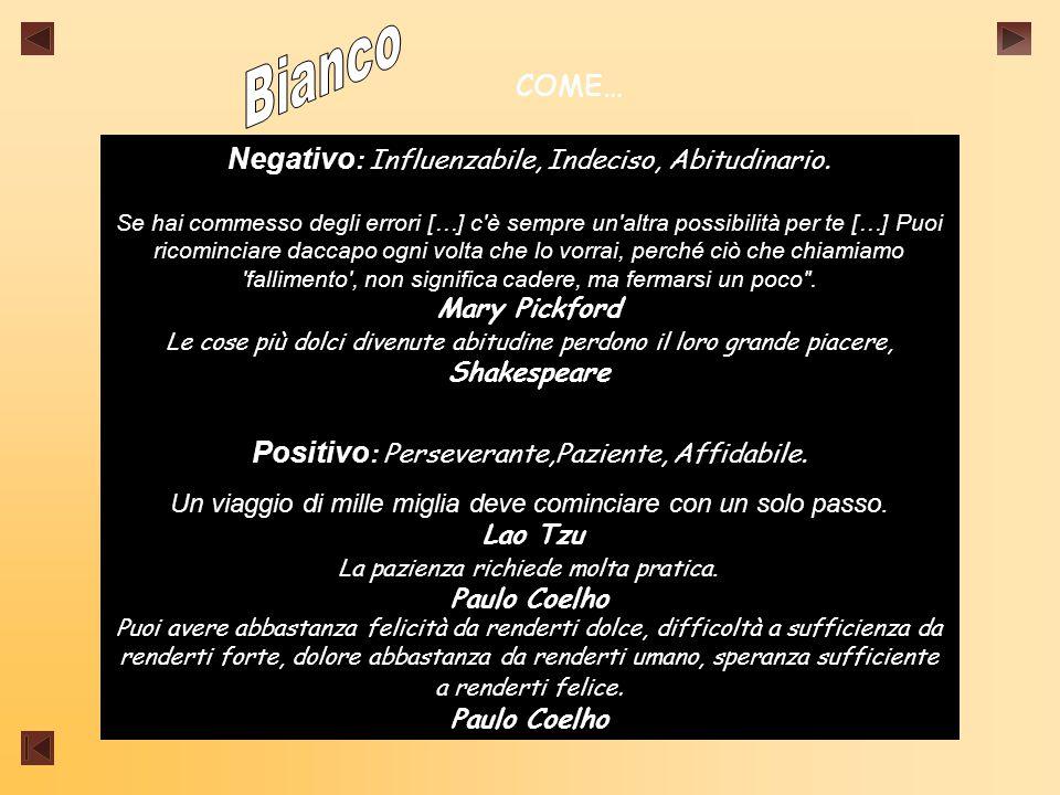 COME… Negativo : Influenzabile, Indeciso, Abitudinario.