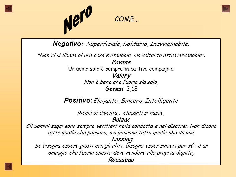 COME… Negativo : Superficiale, Solitario, Inavvicinabile.