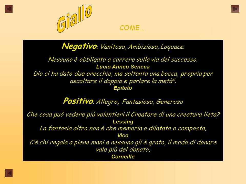 COME… Negativo : Vanitoso, Ambizioso, Loquace.