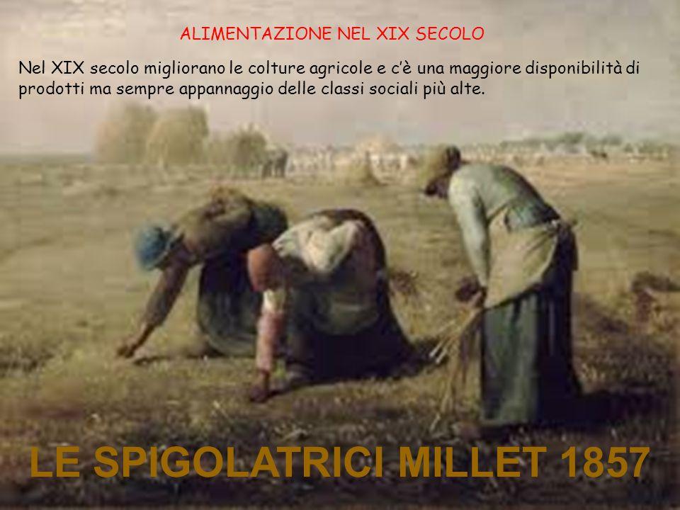 LE SPIGOLATRICI MILLET 1857 ALIMENTAZIONE NEL XIX SECOLO Nel XIX secolo migliorano le colture agricole e c'è una maggiore disponibilità di prodotti ma