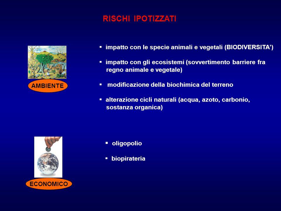 RISCHI IPOTIZZATI AMBIENTE  impatto con le specie animali e vegetali (BIODIVERSITA')  impatto con gli ecosistemi (sovvertimento barriere fra regno a