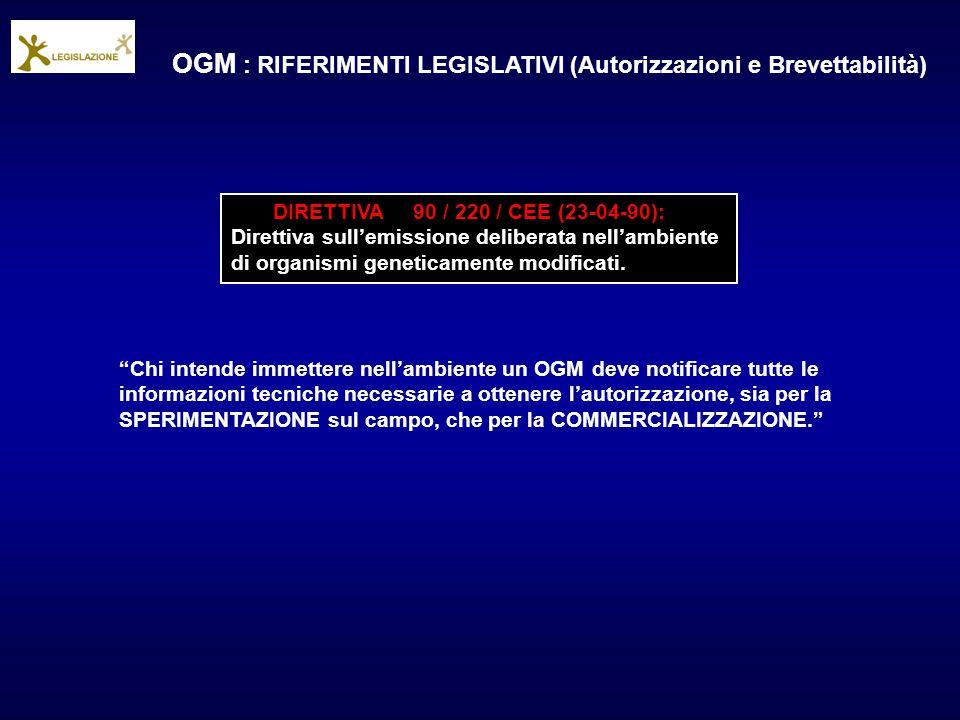OGM : RIFERIMENTI LEGISLATIVI (Autorizzazioni e Brevettabilità) DIRETTIVA 90 / 220 / CEE (23-04-90): Direttiva sull'emissione deliberata nell'ambiente