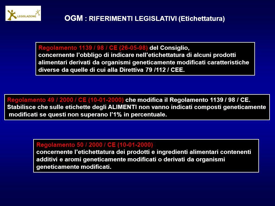 OGM : RIFERIMENTI LEGISLATIVI (Etichettatura) Regolamento 1139 / 98 / CE (26-05-98) del Consiglio, concernente l'obbligo di indicare nell'etichettatur