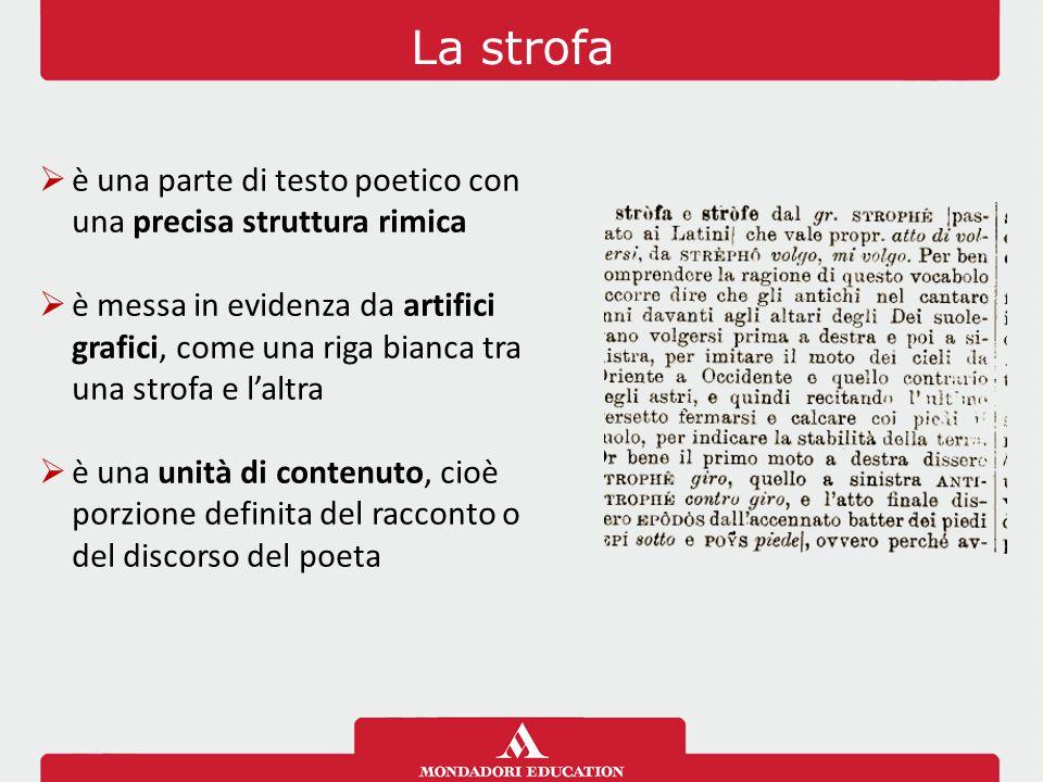 La strofa  è una parte di testo poetico con una precisa struttura rimica  è messa in evidenza da artifici grafici, come una riga bianca tra una strofa e l'altra  è una unità di contenuto, cioè porzione definita del racconto o del discorso del poeta