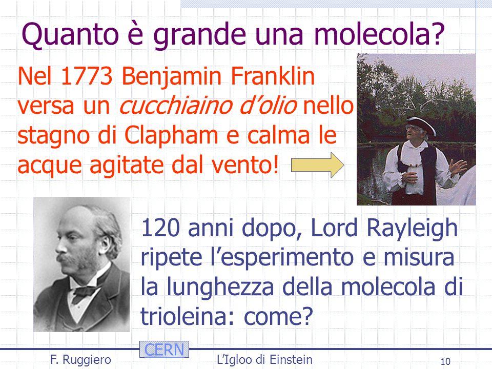 CERN F. RuggieroL'Igloo di Einstein 10 Quanto è grande una molecola.