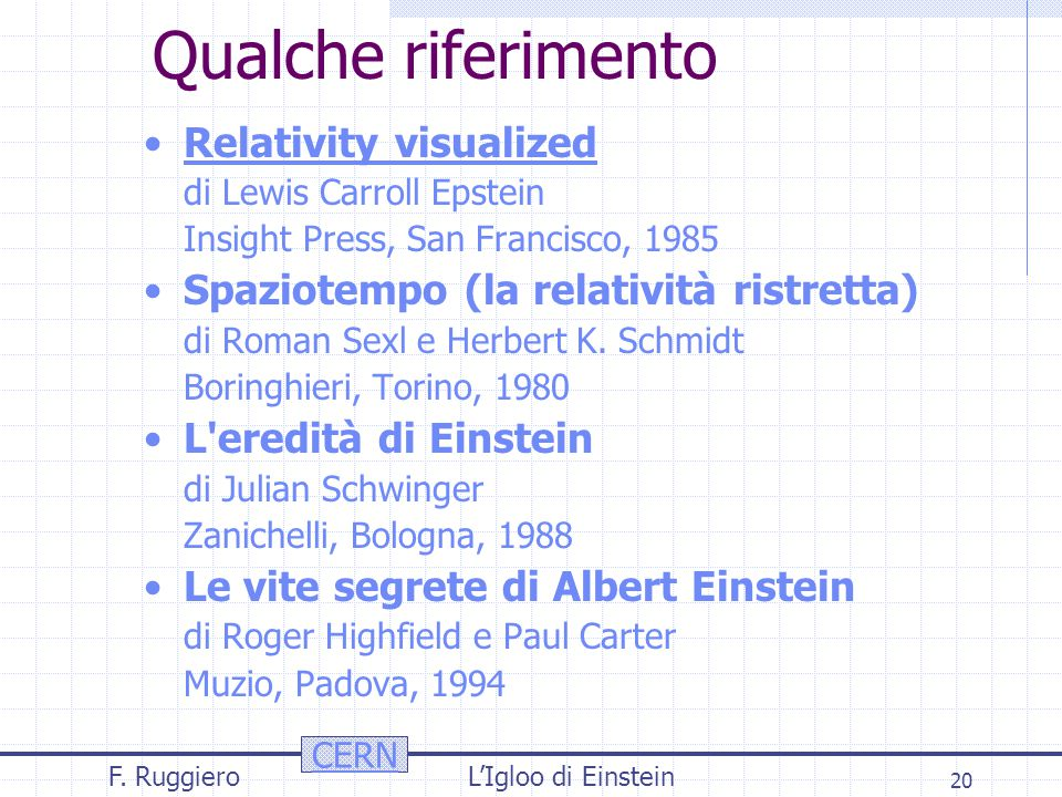 CERN F. RuggieroL'Igloo di Einstein 20 Qualche riferimento Relativity visualized di Lewis Carroll Epstein Insight Press, San Francisco, 1985 Spaziotem