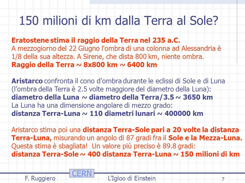 CERN F. RuggieroL'Igloo di Einstein 7 150 milioni di km dalla Terra al Sole.