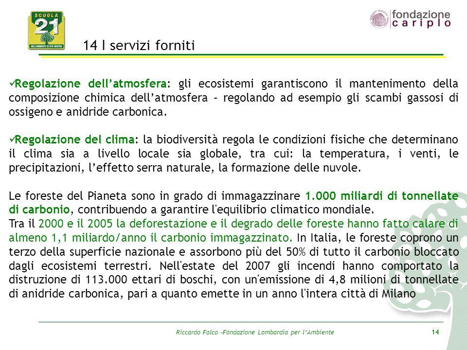 Riccardo Falco –Fondazione Lombardia per l'Ambiente14 14 I servizi forniti Regolazione dell'atmosfera: gli ecosistemi garantiscono il mantenimento del