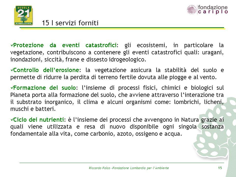 Riccardo Falco –Fondazione Lombardia per l'Ambiente15 15 I servizi forniti Protezione da eventi catastrofici: gli ecosistemi, in particolare la vegeta