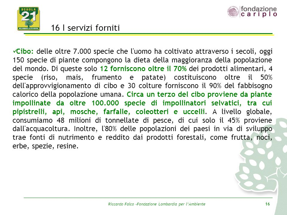 Riccardo Falco –Fondazione Lombardia per l'Ambiente16 16 I servizi forniti Cibo: delle oltre 7.000 specie che l'uomo ha coltivato attraverso i secoli,