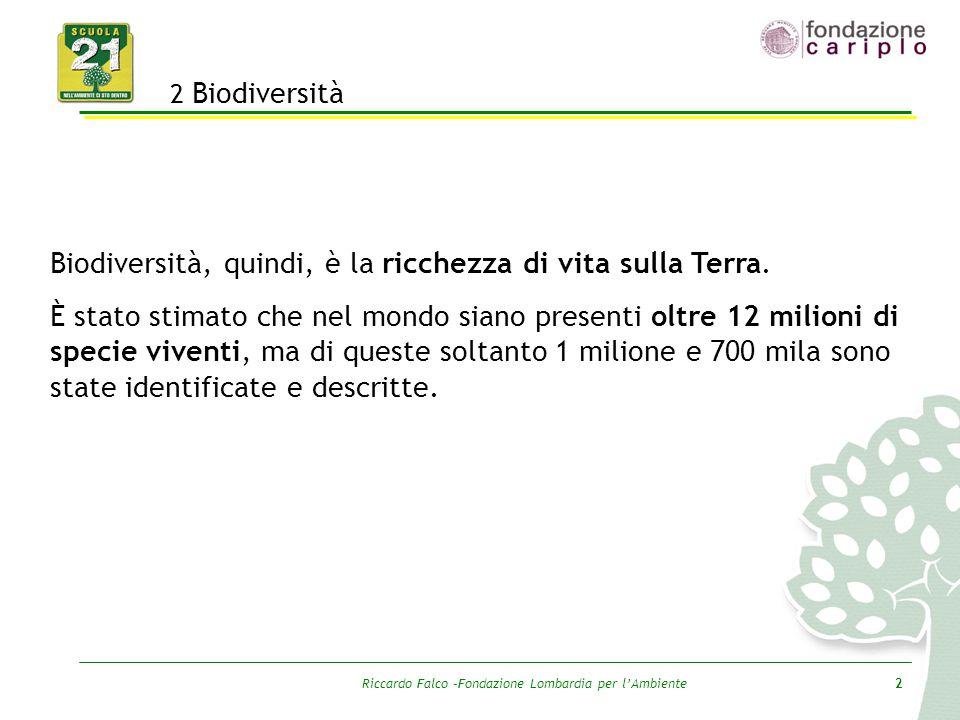 Riccardo Falco –Fondazione Lombardia per l'Ambiente2 2 Biodiversità Biodiversità, quindi, è la ricchezza di vita sulla Terra. È stato stimato che nel