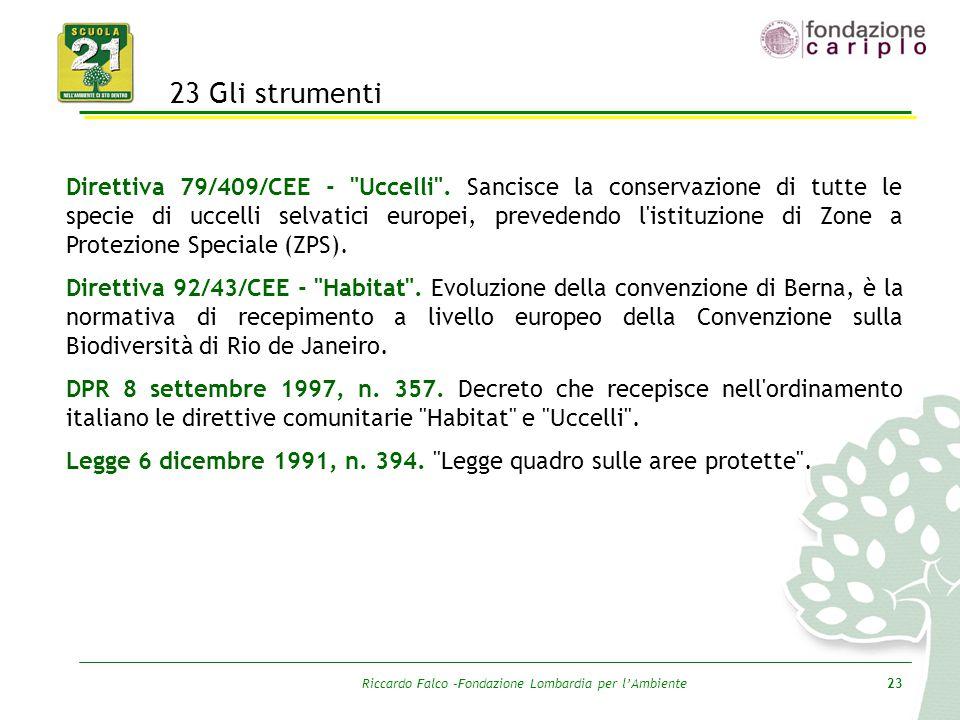 Riccardo Falco –Fondazione Lombardia per l'Ambiente23 23 Gli strumenti Direttiva 79/409/CEE -