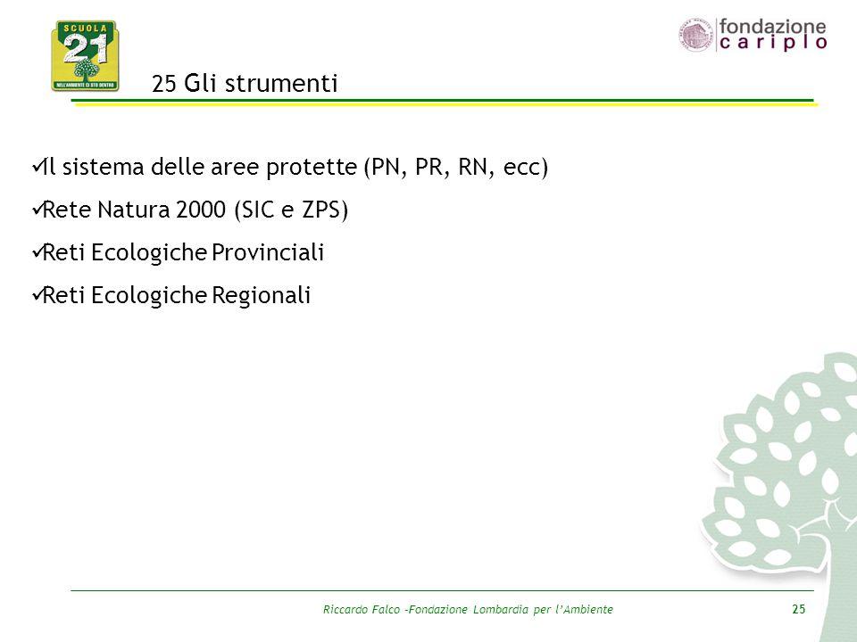 Riccardo Falco –Fondazione Lombardia per l'Ambiente25 25 Gli strumenti Il sistema delle aree protette (PN, PR, RN, ecc) Rete Natura 2000 (SIC e ZPS) R