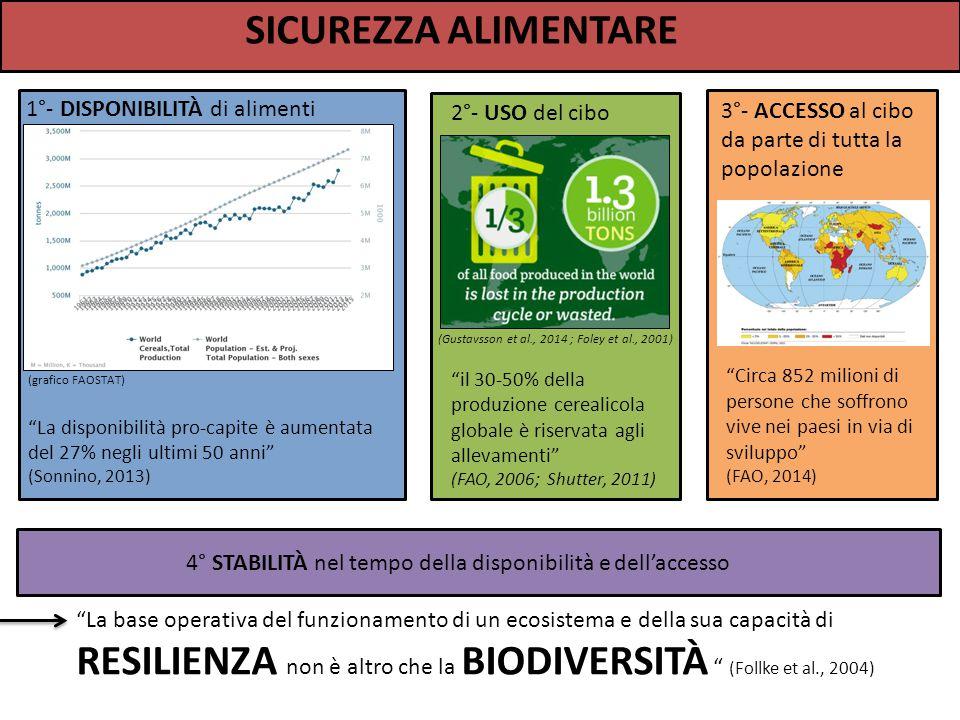 SICUREZZA ALIMENTARE 1°- DISPONIBILITÀ di alimenti 3°- ACCESSO al cibo da parte di tutta la popolazione 2°- USO del cibo 4° STABILITÀ nel tempo della disponibilità e dell'accesso (grafico FAOSTAT) La disponibilità pro-capite è aumentata del 27% negli ultimi 50 anni (Sonnino, 2013) il 30-50% della produzione cerealicola globale è riservata agli allevamenti (FAO, 2006; Shutter, 2011) Circa 852 milioni di persone che soffrono vive nei paesi in via di sviluppo (FAO, 2014) La base operativa del funzionamento di un ecosistema e della sua capacità di RESILIENZA non è altro che la BIODIVERSITÀ (Follke et al., 2004) (Gustavsson et al., 2014 ; Foley et al., 2001)