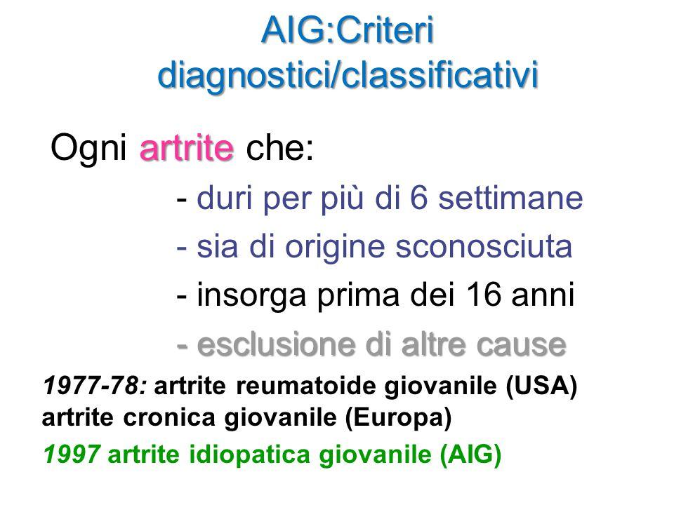 AIG:Criteri diagnostici/classificativi artrite Ogni artrite che: - duri per più di 6 settimane - sia di origine sconosciuta - insorga prima dei 16 ann