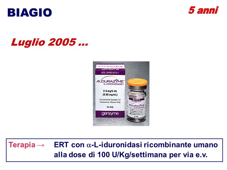 BIAGIO Luglio 2005 … Terapia → ERT con  -L-iduronidasi ricombinante umano alla dose di 100 U/Kg/settimana per via e.v.