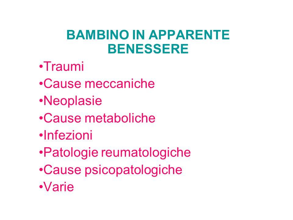 BAMBINO IN APPARENTE BENESSERE Traumi Cause meccaniche Neoplasie Cause metaboliche Infezioni Patologie reumatologiche Cause psicopatologiche Varie