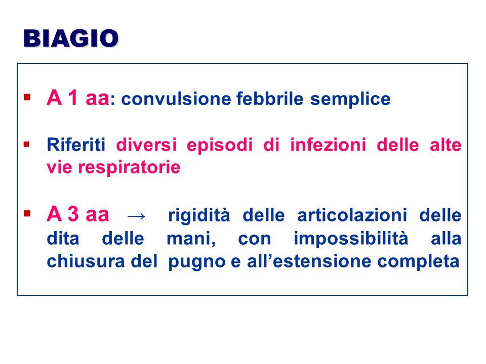 BIAGIO  A 1 aa : convulsione febbrile semplice  Riferiti diversi episodi di infezioni delle alte vie respiratorie  A 3 aa → rigidità delle articola