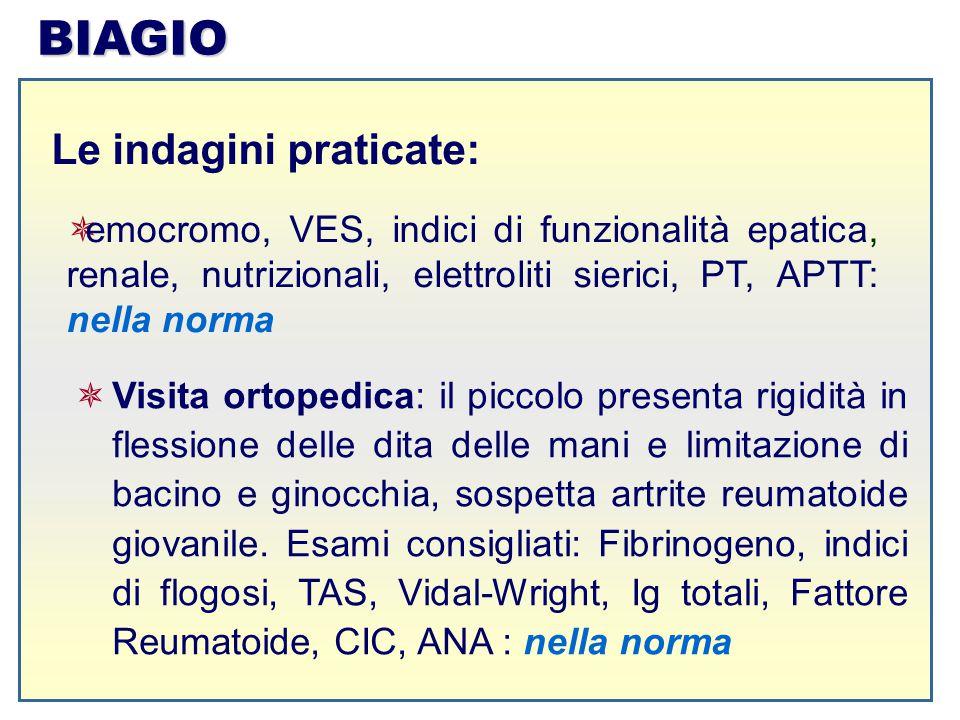 BIAGIO Le indagini praticate:  emocromo, VES, indici di funzionalità epatica, renale, nutrizionali, elettroliti sierici, PT, APTT: nella norma  Visi
