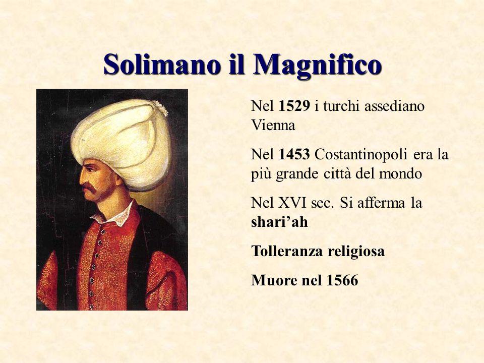 Solimano il Magnifico Nel 1529 i turchi assediano Vienna Nel 1453 Costantinopoli era la più grande città del mondo Nel XVI sec. Si afferma la shari'ah