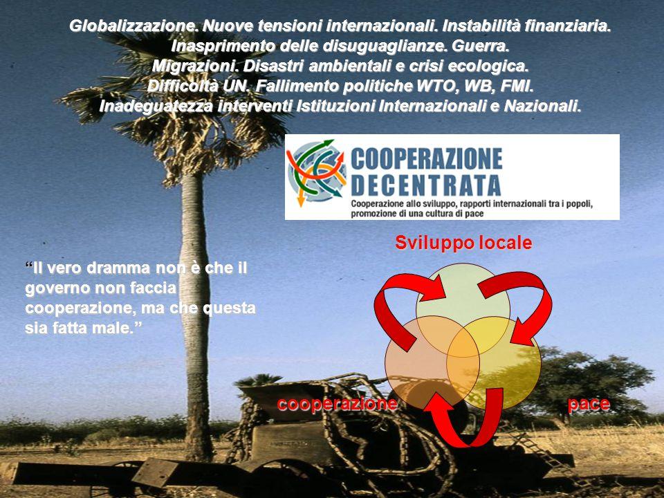 Sviluppo locale pacecooperazione Globalizzazione. Nuove tensioni internazionali. Instabilità finanziaria. Inasprimento delle disuguaglianze. Guerra. M