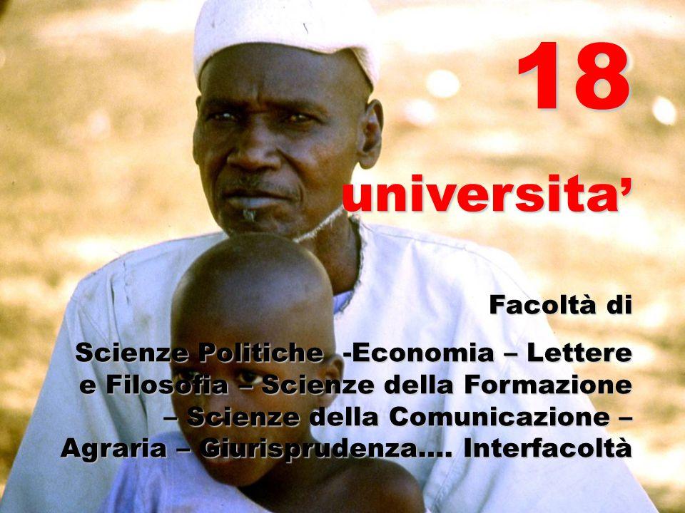 18 universita' Facoltà di Scienze Politiche -Economia – Lettere e Filosofia – Scienze della Formazione – Scienze della Comunicazione – Agraria – Giuri