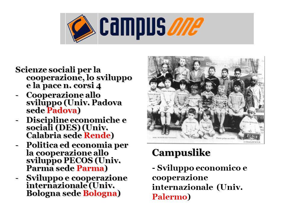 Scienze sociali per la cooperazione, lo sviluppo e la pace n. corsi 4 -Cooperazione allo sviluppo (Univ. Padova sede Padova) -Discipline economiche e