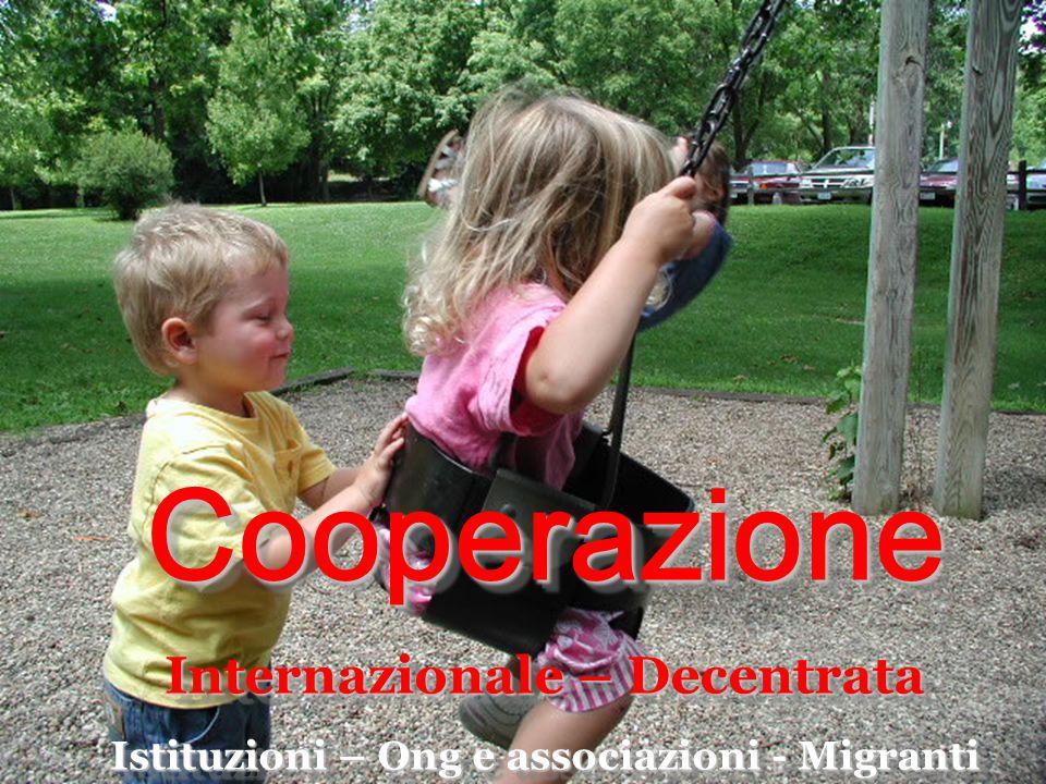 Cooperazione Internazionale – Decentrata Istituzioni – Ong e associazioni - Migranti Cooperazione Internazionale – Decentrata Istituzioni – Ong e asso