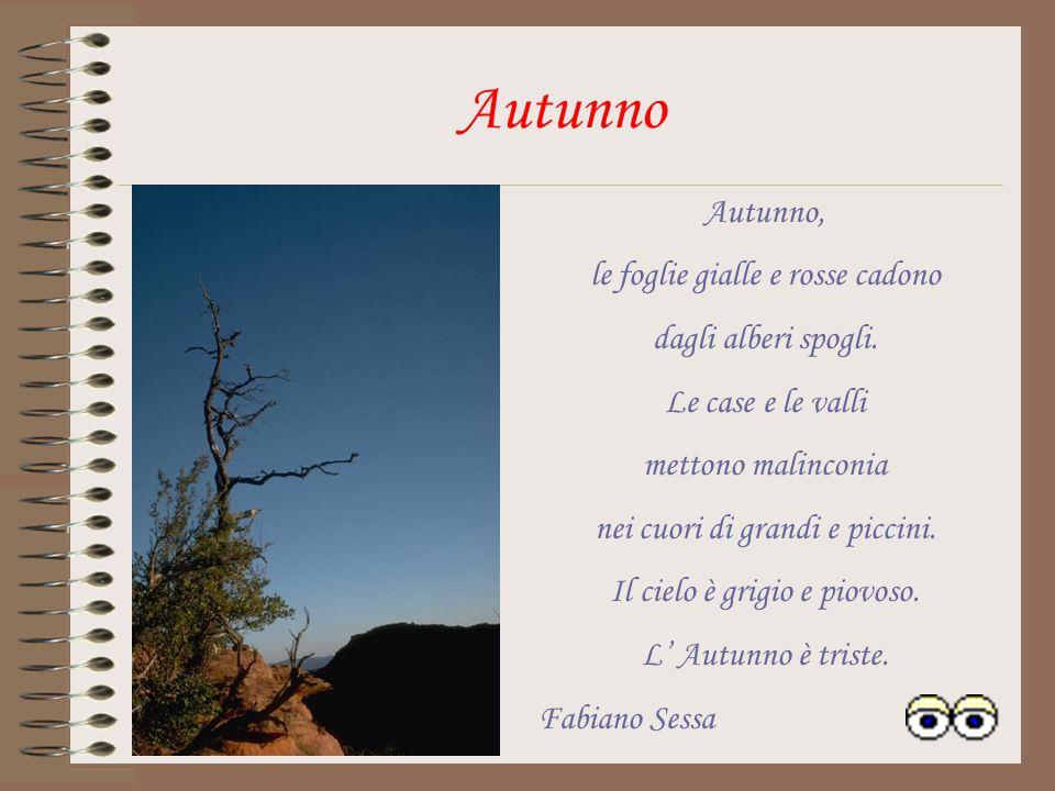 Autunno, le foglie gialle e rosse cadono dagli alberi spogli.