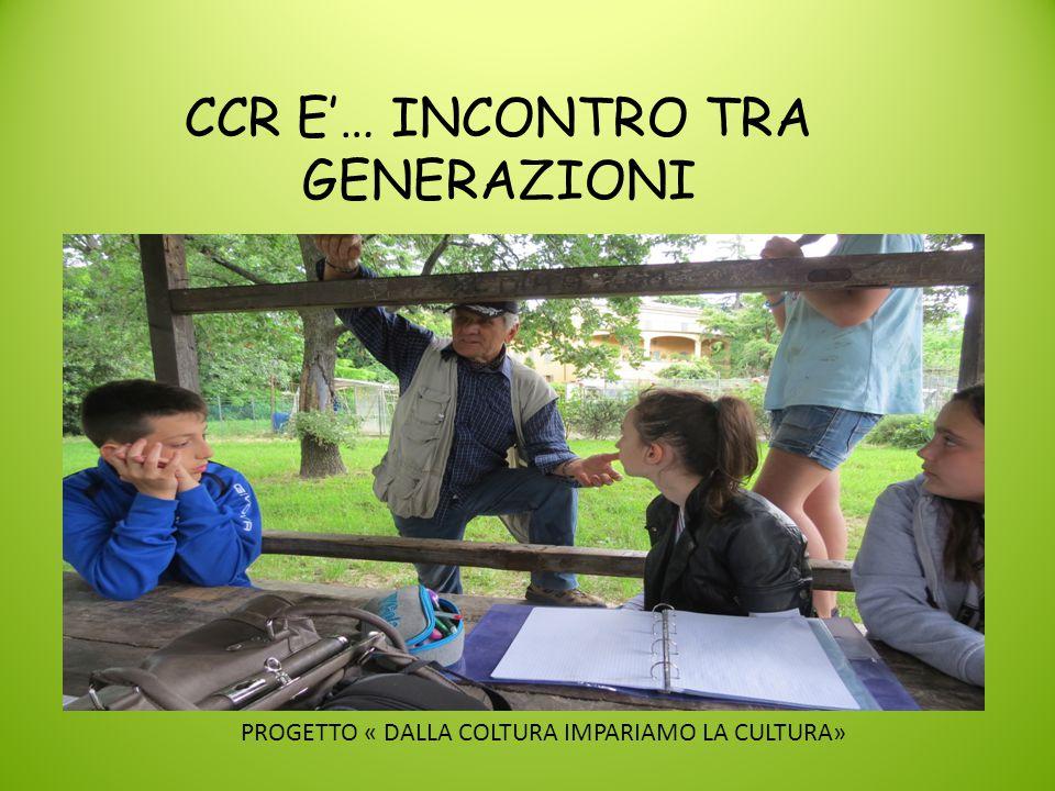 CCR E'… INCONTRO TRA GENERAZIONI PROGETTO « DALLA COLTURA IMPARIAMO LA CULTURA»
